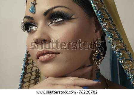 indian women dress in yellow - stock photo