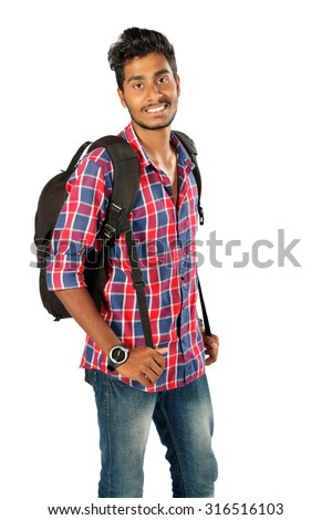 Indian young student carrying bag on white  - stock photo