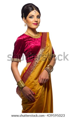 Indian young woman isolated on white - stock photo