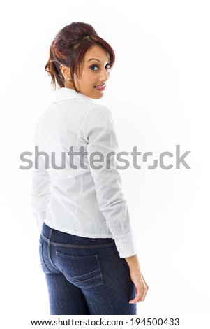 Indian young woman turning back isolated on white background - stock photo