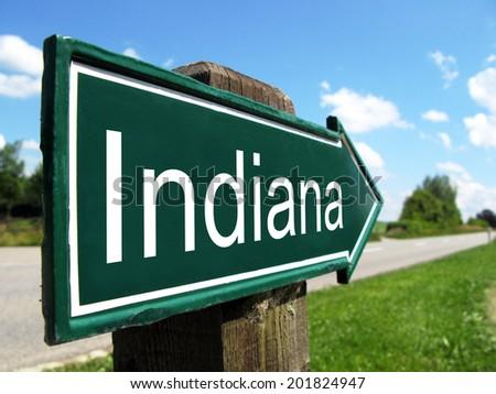 Indiana  signpost along a rural road - stock photo