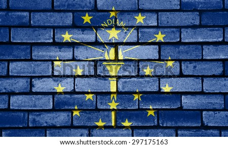 Indiana state flag of America on brick wall - stock photo