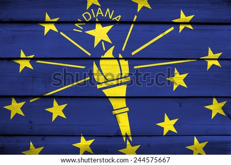 Indiana State Flag on wood background - stock photo