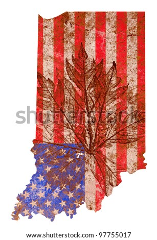 Indiana state of the United States of America in grunge flag pattern isolated on white background - stock photo