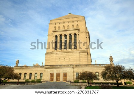 Indiana  Veterans Memorial Plaza in downtown Indianapolis - stock photo