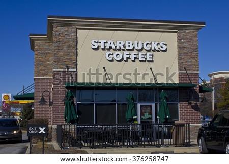 Indianapolis - Circa February 2016: Starbucks Retail Coffee Store. Starbucks is an American Retail Coffee Chain V - stock photo