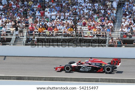 INDIANAPOLIS, IN - MAY 30: Indy car driver Justin Wilson is running in the Indy 500 race May 30, 2010 in Indianapolis, IN - stock photo