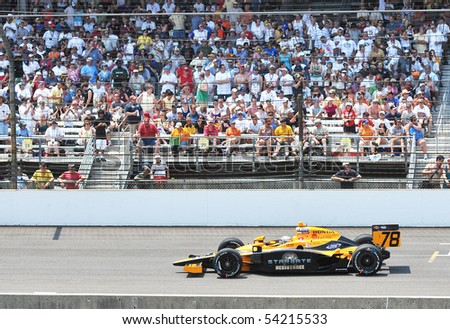 INDIANAPOLIS, IN - MAY 30: Indy car driver Simona De Silvestro is running in the Indy 500 race May 30, 2010 in Indianapolis, IN - stock photo