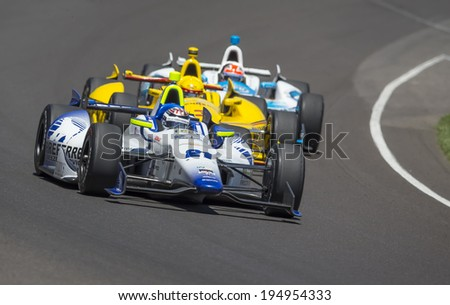 Indianapolis, IN - May 25, 2014:  Indy driver, Jaques Lazier (21), runs the 98th annual Indianapolis 500 at the Indianapolis Motor Speedway in Indianapolis, IN.   - stock photo