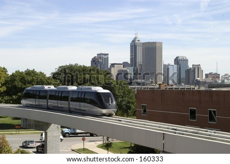 Indianapolis Skyline and Monorail Train - stock photo