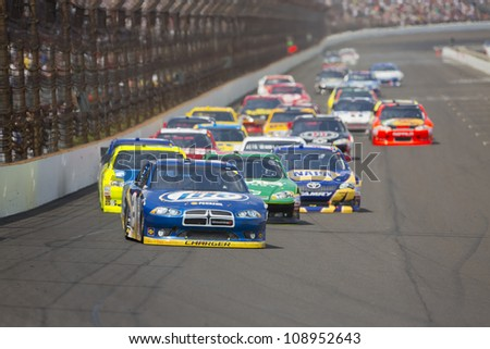 INDIANPOLIS, IN - JUL 29, 2012:  Brad Keselowski (2) brings his car down the front stretch during the Curtiss Shaver 400 race at the Indianapolis Motor Speedway in Indianapolis, IN on Jul 29, 202 - stock photo