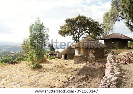 Indigenous dwelling with straw roof in Lalibela, Ethiopia - stock photo