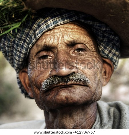 Indigenous Senior Indian Man Grumpy Close-Up Concept - stock photo