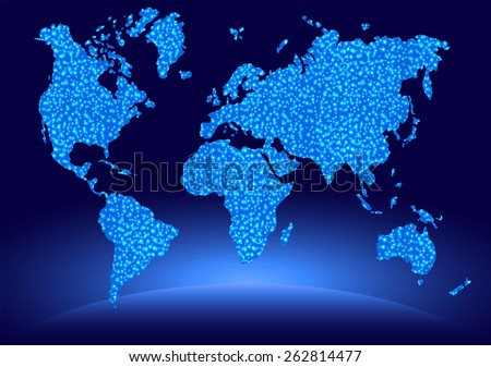 Indigo blue map. Autism awareness day - stock photo