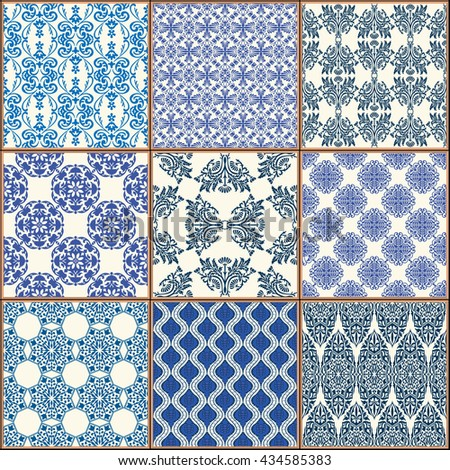 Indigo Blue Tiles Floor Ornament Collection. Gorgeous Seamless Patchwork Pattern from Colorful Traditional Painted Tin Glazed Ceramic Tilework Vintage Illustration Art template background jpg Art - stock photo