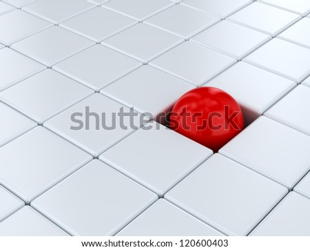 Individual concept with red sphere - stock photo