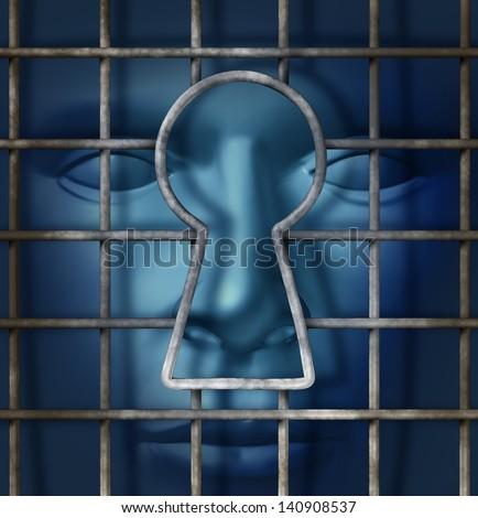 Individual freedom and free thinking concept as a metal cage with an open  key hole and a human head waiting in the shadows as a symbol of escape from slavery as a solution to go forward. - stock photo