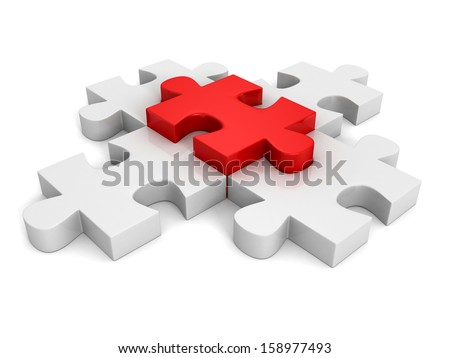 individual red concept leader of group jigsaw puzzle - stock photo