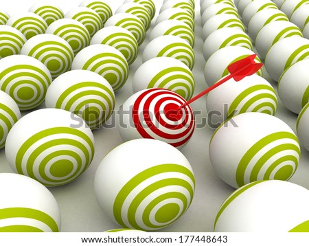 individual red target ball with arrow in bull eye center - stock photo