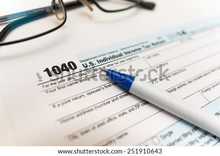 Individual tax return form close-up - stock photo