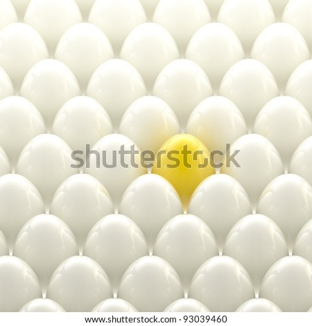 Individuality background: golden egg among usual white eggs - stock photo