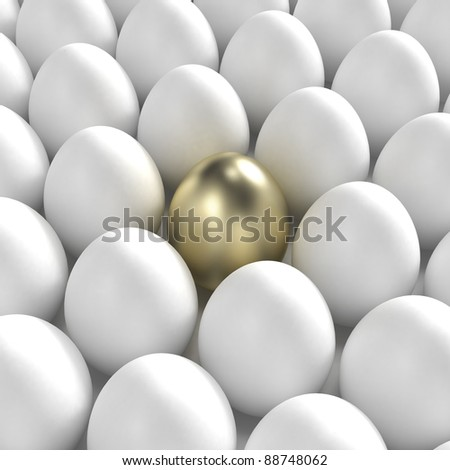 Individuality: golden egg among usual white eggs - stock photo