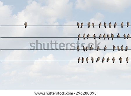 Individuality symbol and independent thinker concept and new leadership concept or individuality as a group of pigeon birds on a wire with one individual in the opposite direction as a business icon. - stock photo