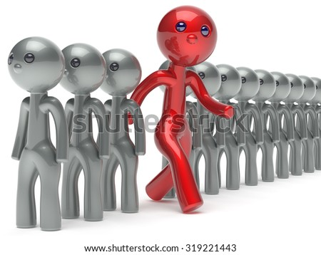 Individuality unusual different man character people red stand out from the crowd unique think differ person otherwise run to new opportunities concept referendum vote icon 3d render isolated - stock photo