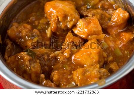 Indo-Chinese chili garlic chicken, a North Indian fusion food from Kolkata - stock photo