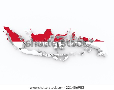 indonesia flag on 3d map - stock photo