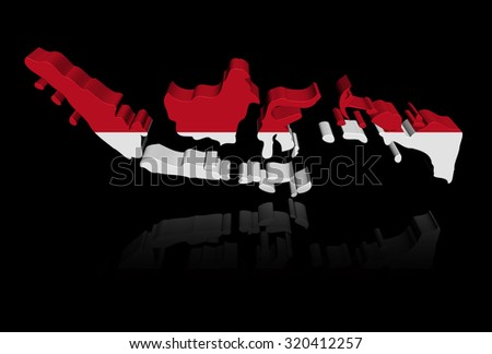 Indonesia map flag with reflection illustration - stock photo