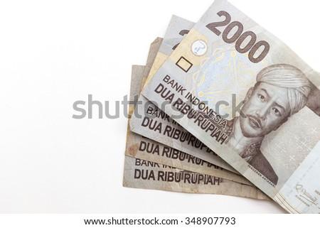 indonesia money on empty background - stock photo