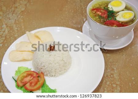 indonesian food named soto ayam - stock photo