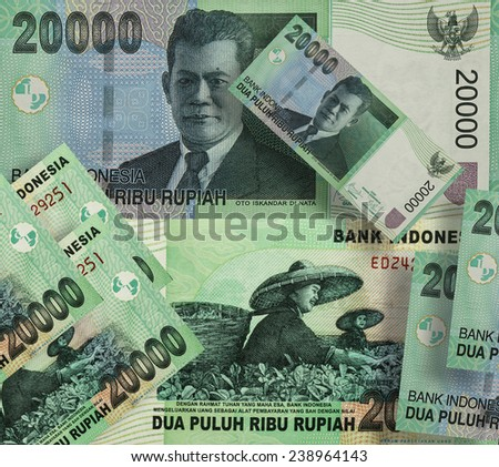 Indonesian rupiah bill of twenty thousand - stock photo