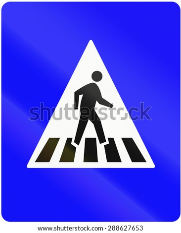 Indonesian traffic sign: Pedestrian crossing (give way). - stock photo