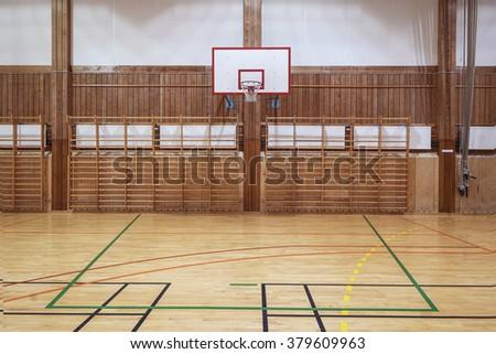 Indoor basketball court - stock photo