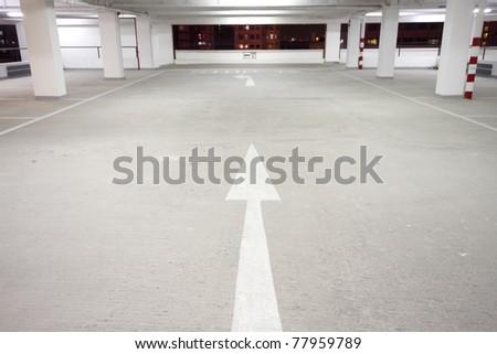 indoor carpark atnight in wode angle - stock photo