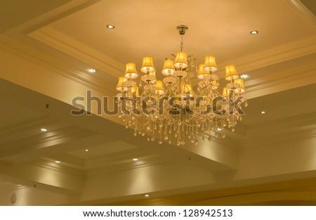indoor Chandelier in hotel - stock photo