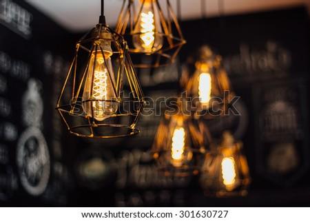 indoor light, coffee shop - stock photo