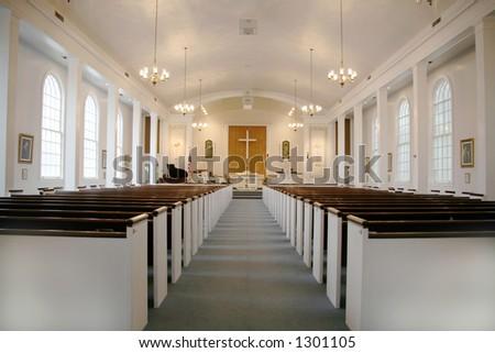 Indoor Methodist Church With Lights On - stock photo