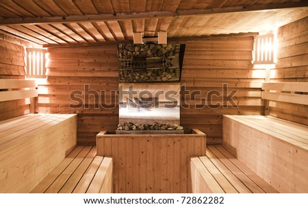 Indoor of a sauna - stock photo