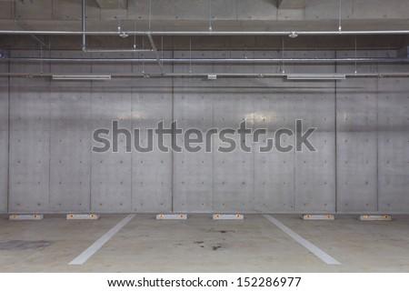 indoor or underground carpark - stock photo