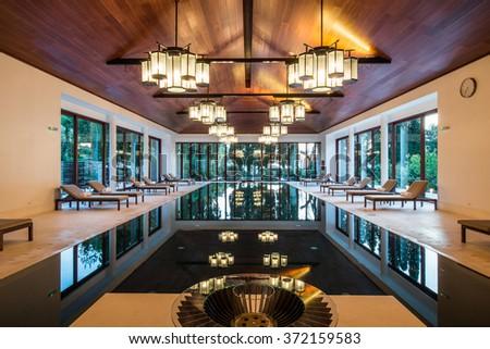 Indoor pool SPA - stock photo