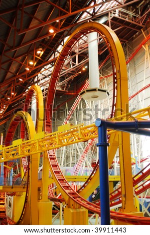 Indoor rollercoaster inside the west edmonton mall (the largest indoor shopping mall in north america), edmonton, alberta, canada - stock photo