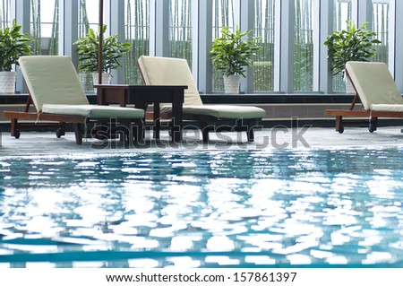 Indoor swimming pool in China - stock photo