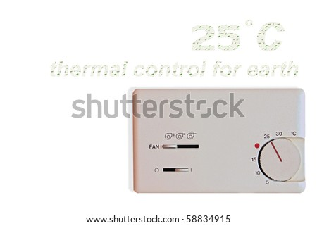 indoor thermostat isolate on white background. thermal control for earth. - stock photo