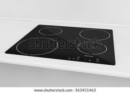 Induction cooktop stove with kitchen furniture - stock photo