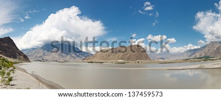 Indus River Panorama, Karakorum Range, near Skardu, Pakistan - stock photo