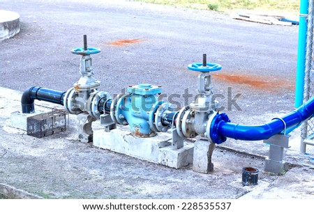 industrial air condition pipes plumbing cooler fire - stock photo