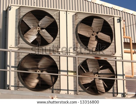 Industrial air conditioner and ventilation in industrial building - stock photo